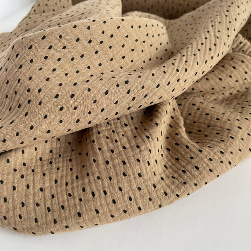 Speckles Taupe Organic Double Gauze