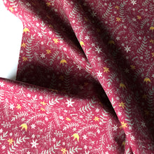 Festive Garden Marine Burgundy Cotton Needlecord