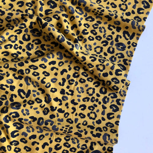 REMNANT 2.67 meters Animal Print Leopard Ochre Cotton Jersey