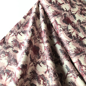 Leafy Forest Pink Cotton Satin