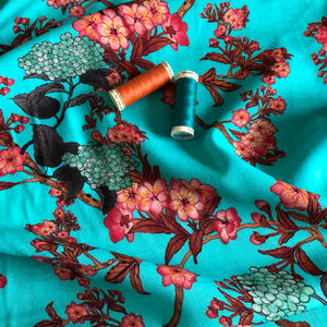 REMNANT 1.00 meter Lady McElroy - Aqua Zathelle Viscose Crepe Dress Fabric