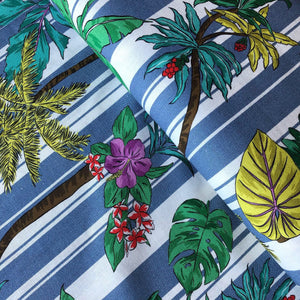 Stripey Palms Blue Linen Viscose Blend