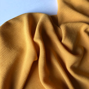 Crinkled Viscose Orpiment Yellow Dress Fabric