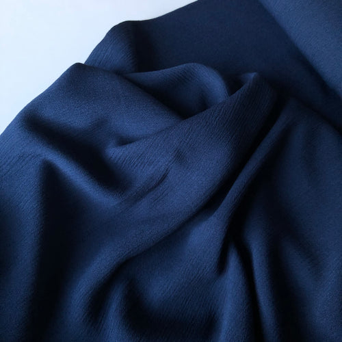 Crinkled Viscose Navy Blue Dress Fabric
