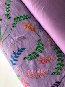Fantasy Leaves Lilac Cotton Broderie Anglaise