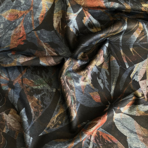 Mystic Leaves Ponte Roma Jersey Fabric
