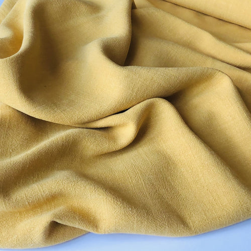 REMNANT 2.72 meters Flow Orpiment Yellow Viscose Linen Blend Dress Fabric