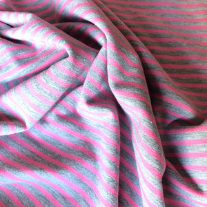 Grey with Pink Small Stripe Cotton Jersey