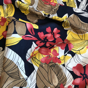 Colour Splash Flowers Viscose/Linen Mix
