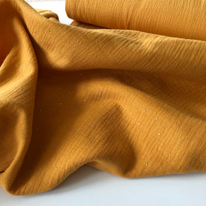 REMNANT 0.87 meter Dew Drop Gold Yellow Cotton Double Gauze