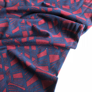 Linked Together - Cotton Jersey (Ruby/ Navy)