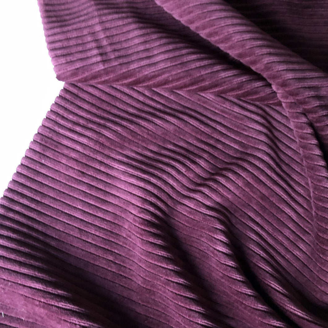 Grape Ribbed Velvet Jersey Fabric