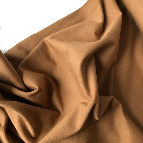 REMNANT 1.30 meters Essential Chic Caramel Brown Plain Cotton Jersey Fabric