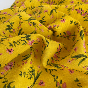 Spring Flower Yellow Viscose Linen Fabric