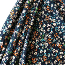 Wild Lilies Navy Viscose Dress Fabric