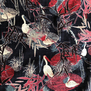 Aquatic Herons Navy Cotton / Linen / Viscose Blend