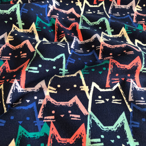 Funky Cats Cotton French Terry