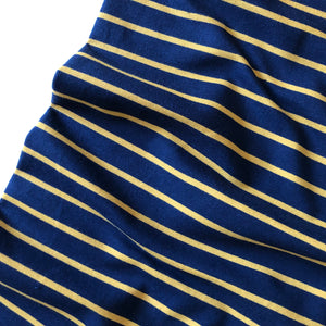 Yarn Dyed Navy/Ochre Stripe Looped Back jersey