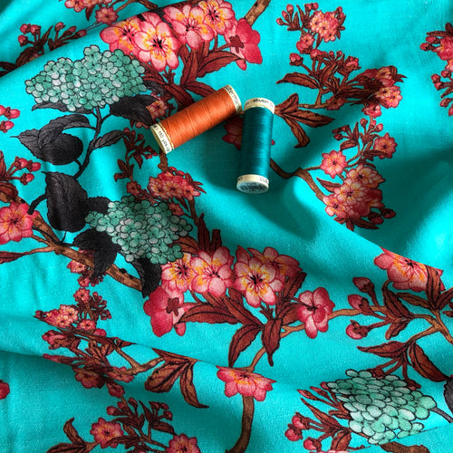 REMNANT 1.91 meters Lady McElroy - Aqua Zathelle Viscose Crepe Dress Fabric