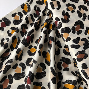 REMNANT 1.17 meters Bold Leopard Off-White Viscose Dress Fabric