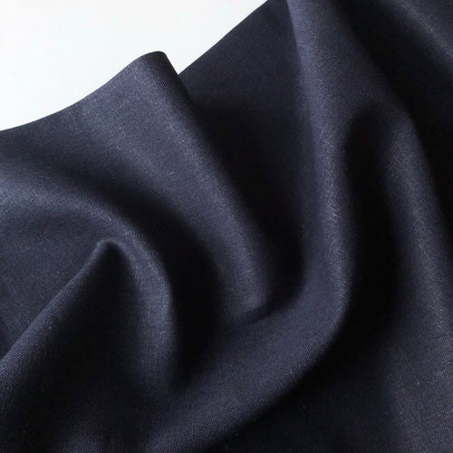 Navy Linen Viscose Blend Fabric