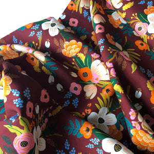 REMNANT 1.05 meters Rifle Paper Co - Lively Floral Burgundy Rayon Fabric from Amalfi