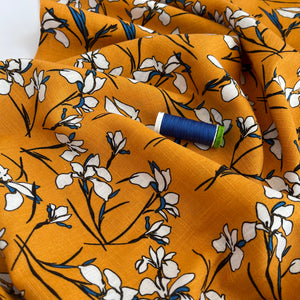 Lily Flower Amber Viscose Linen Fabric