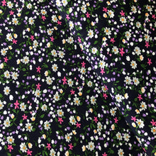 Field Daisies Navy Viscose Dress Fabric