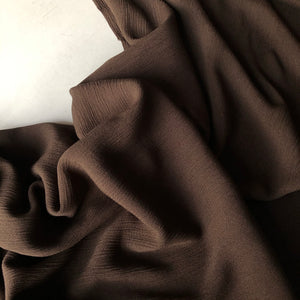 REMNANT 2.70 meters Crinkled Viscose Chocolate Dress Fabric