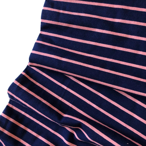Navy/Pink Stripe Yarn Dyed Cotton French Terry