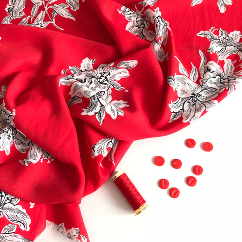 Scarlet Cluster Double Gorgette Dress Fabric