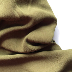 Crinkled Viscose Olive Dress Fabric