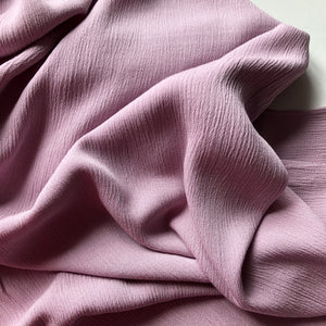 REMNANT 1.90 meters Crinkled Viscose Mauve Dress Fabric