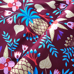 REMNANT 2 meters At The Beach - Sweet Pineapple Wine Cotton Satin