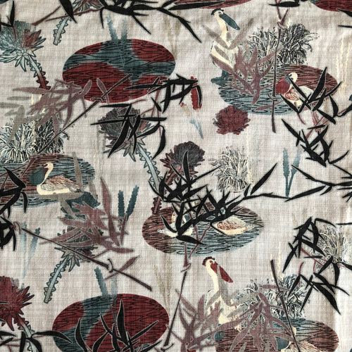 Aquatic Herons Neutral Cotton / Linen / Viscose Blend