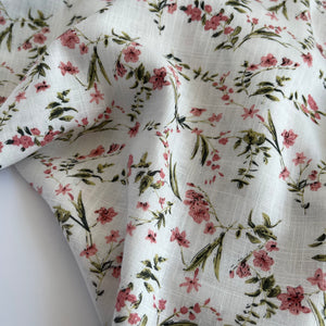 Spring Flower White Viscose Linen Fabric