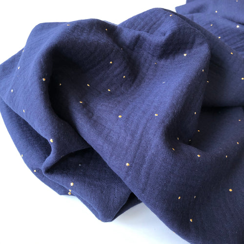 Dew Drop Navy Blue Cotton Double Gauze