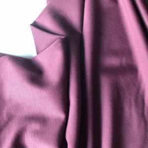 REMNANT 0.78 meter Aubergine Viscose Modal Ponte Roma Knit Fabric