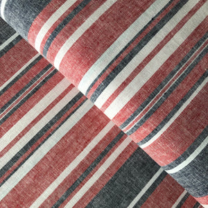 Beach Stripes Red Linen Cotton Blend Dress Fabric