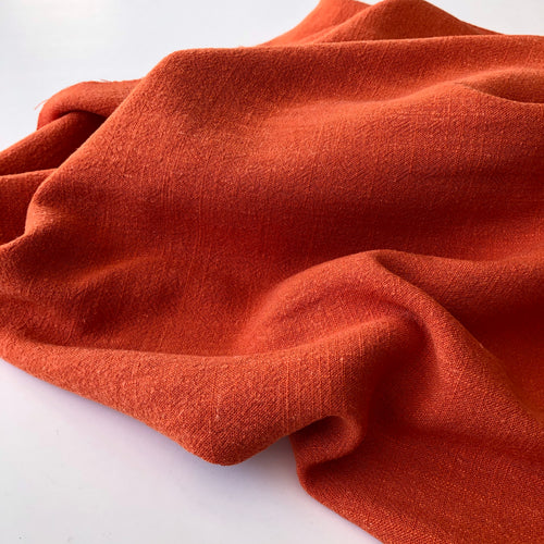 Flow Orange Viscose Linen Blend Dress Fabric