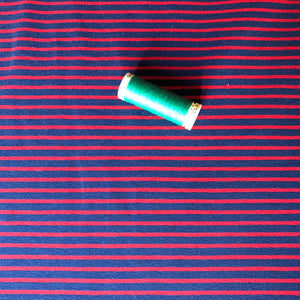 Navy with Red Small Stripe Cotton Jersey