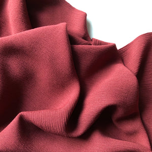 Crinkled Viscose Marine Burgundy Dress Fabric