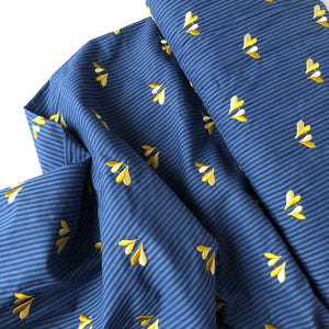 REMNANT 1.04 meter Embroidered Cotton Blouse Stripes Navy
