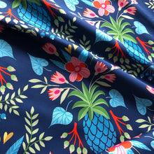 At The Beach - Sweet Pineapple Blue Cotton Satin