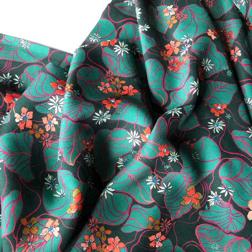 REMNANT 0.88 meter Oriental Vines Viscose Dress Fabric