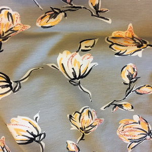 Rose Buds With Glitter Light Grey & Pink Cotton Jersey