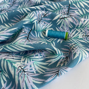 Tropical Leaves Blue Viscose Linen Fabric