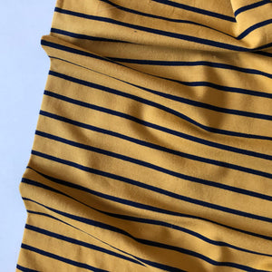 Yarn Dyed Ochre/Navy Stripe Looped Back Jersey