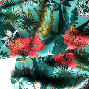 Lady McElroy - Floridian Narciso - Aqua Viscose Dress Fabric