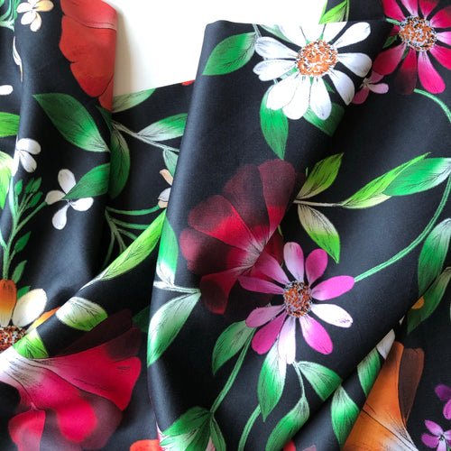 REMNANT 0.80 meter Lizzano Ivy Black- Cotton Satin